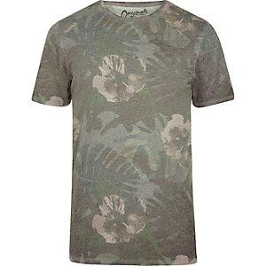 Jack & Jones – Grünes T-Shirt mit Blumenmuster