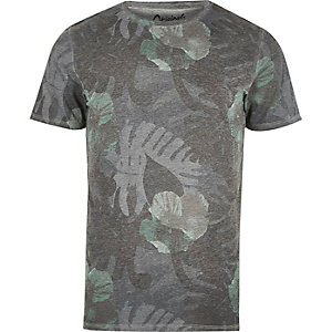 Grey faded leaf print T-shirt