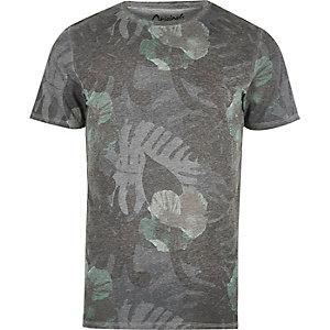 T-shirt imprimé feuillage gris délavé