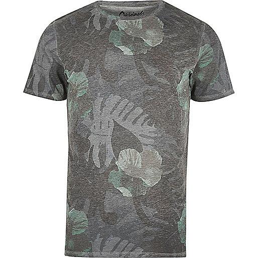 Grey Jack & Jones faded leaf print T-shirt