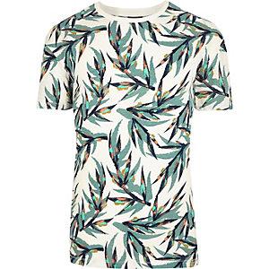 White Jack & Jones leaf print T-shirt