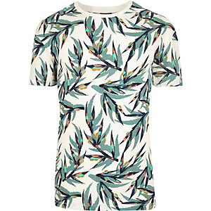 White Jack & Jones leaf print T-shirt