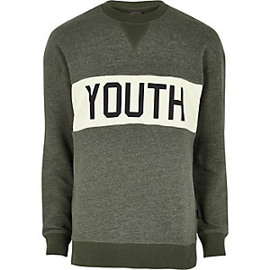 Dark green Jack & Jones print sweatshirt