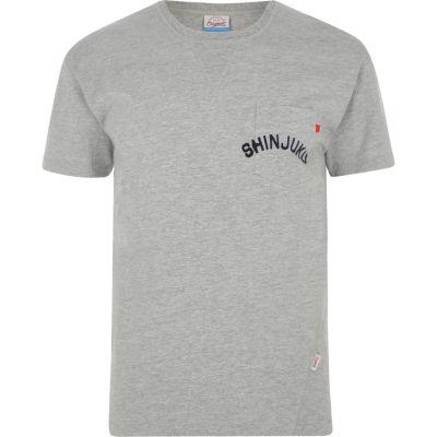 Jack and Jones Gemêleerd grijs T-shirt met zak en print