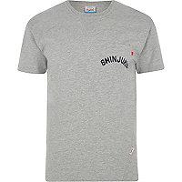 Grey marl Jack & Jones pocket print T-shirt