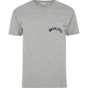 Jack & Jones – T-shirt  imprimé gris chiné à poche
