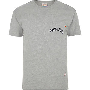 Jack & Jones - Gemêleerd grijs T-shirt met zak en print