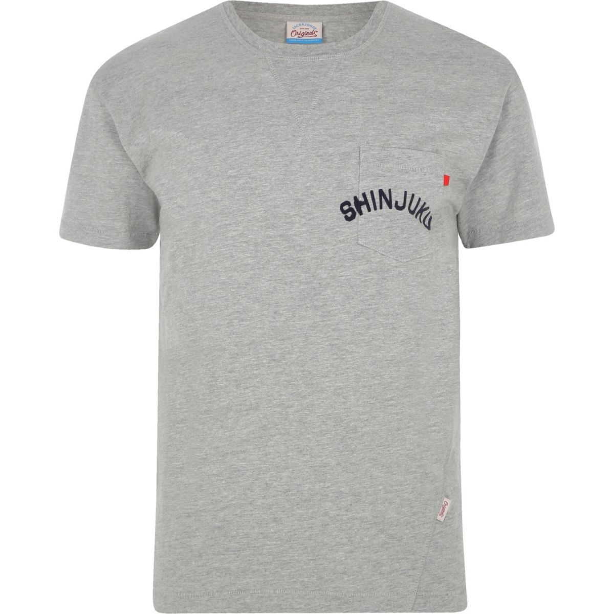 Grey marl Jack & Jones pocket print T-shirt