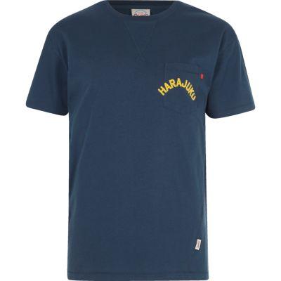 Jack and Jones Blauw T-shirt met zak en print