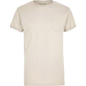 Big & Tall – Steingraues T-Shirt mit Rundhalsausschnitt
