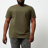 RI Big and Tall - Donkergroen T-shirt met ronde hals