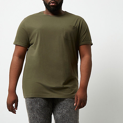 Big and Tall dark green crew neck T-shirt