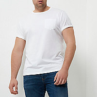 Big and Tall white roll sleeve T-shirt