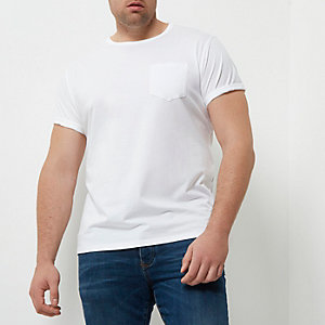 RI Big and Tall - Wit T-shirt met opgerolde mouwen