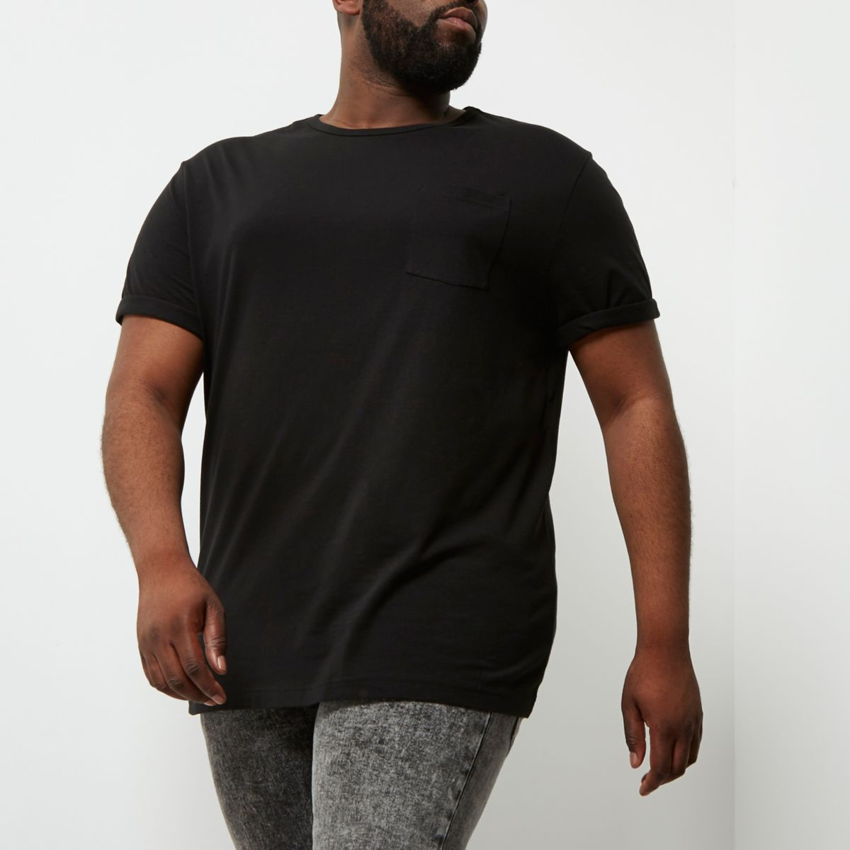 Big and Tall - Zwart T-shirt met opgerolde mouwen