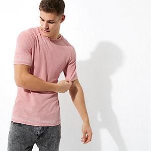 T-shirt corail gaufré effet usé à manches raglan