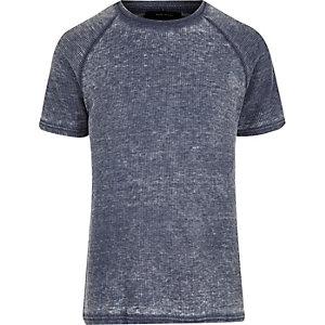 T-shirt bleu gaufré slim à manches raglan