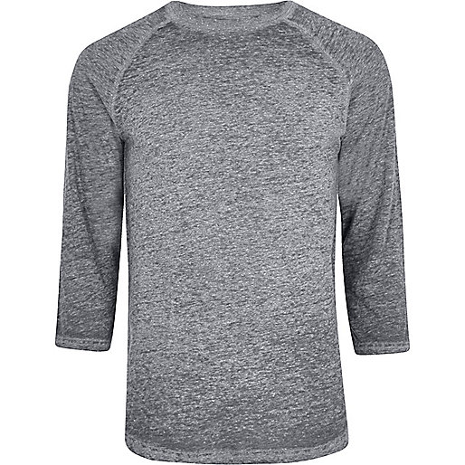 Grey burnout raglan sleeve slim fit T-shirt