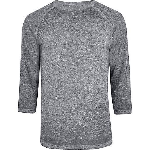 Grey burnout raglan sleeve slim fit T-shirt