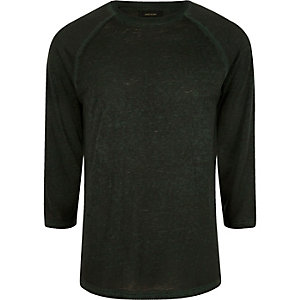 Dark green burnout slim fit raglan sleeve top