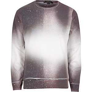 White and red paint splatter faded jumper