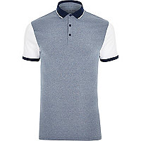 Blue and white muscle fit polo shirt