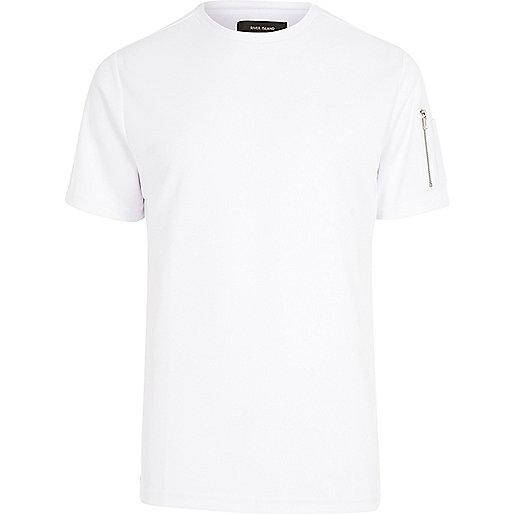 White zip sleeve T-shirt