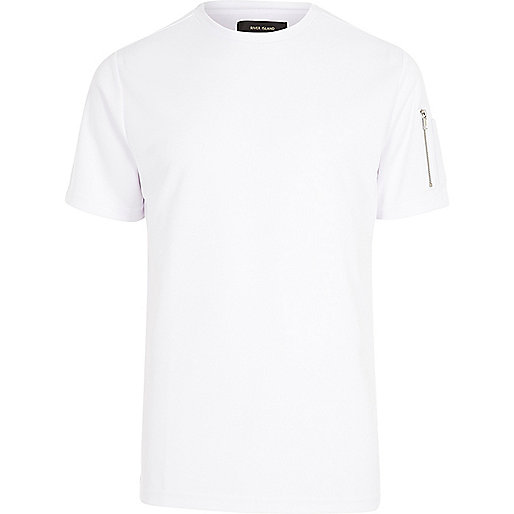 White zip sleeve T-shirt
