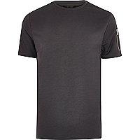 T-shirt gris foncé à manches zippées