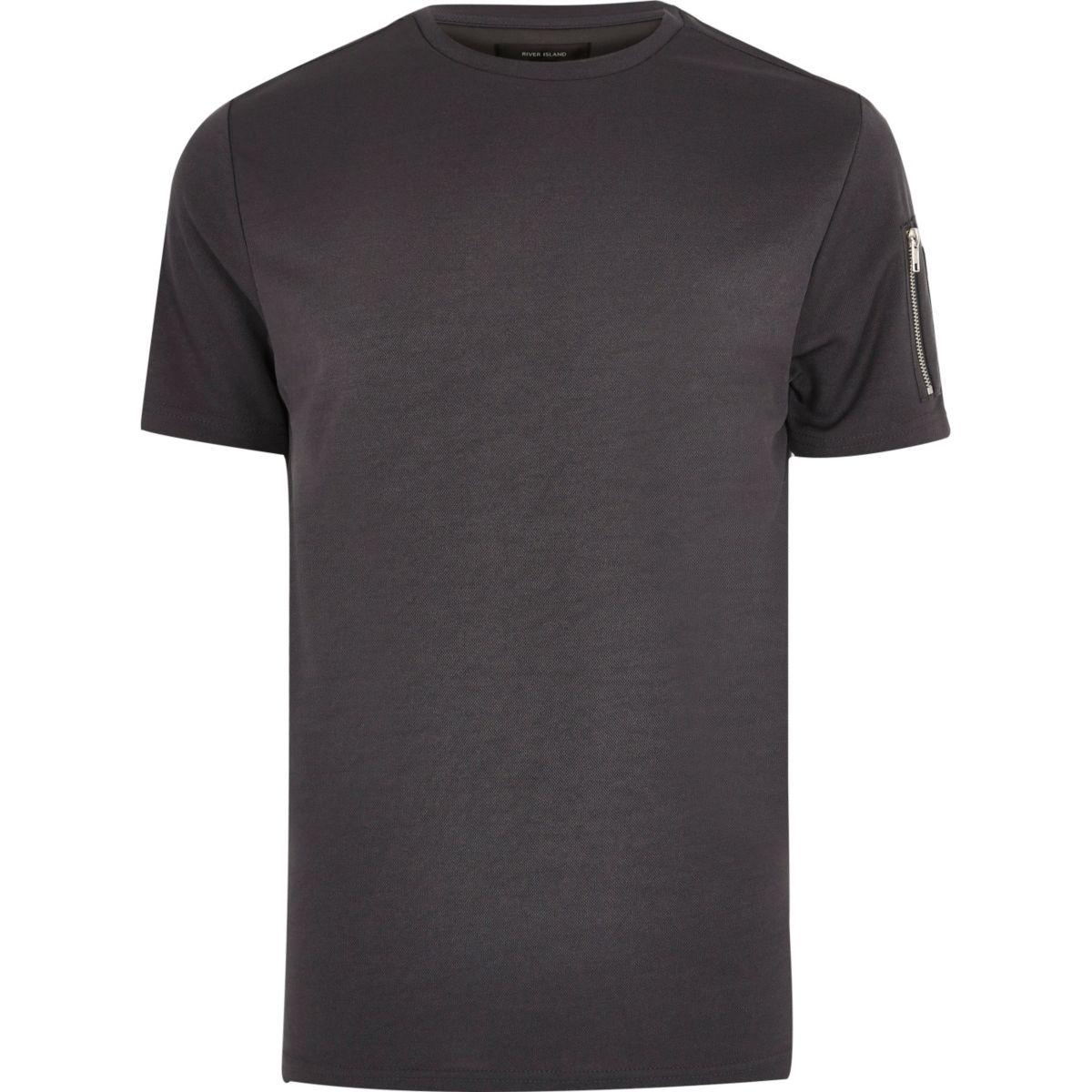 Dark grey zip sleeve T-shirt