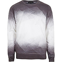 White geo faded sweatshirt