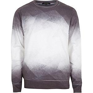 Sweat imprimé géométrique délavé blanc
