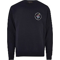 Navy sports snake logo sweatshirt