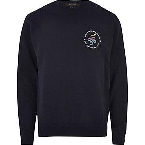 Marineblauw sportsweatshirt met slangenlogo