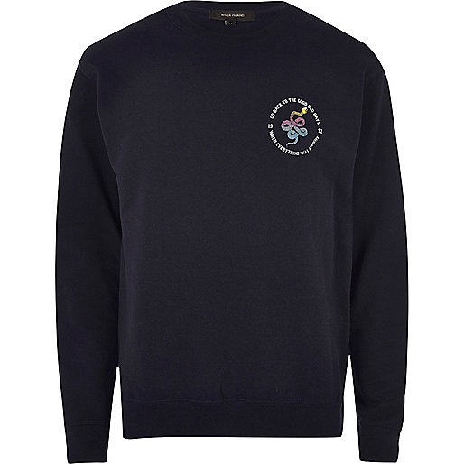 Navy sports snake logo sweatshirt