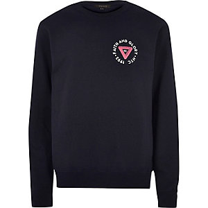 Navy blue sports chest logo sweatshirt