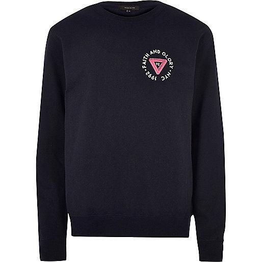 Navy blue sports chest logo sweatshirt