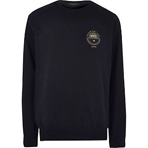 Navy blue NYC chest print sweatshirt