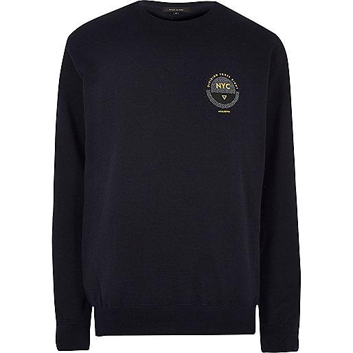 Navy blue NYC chest print sweatshirt