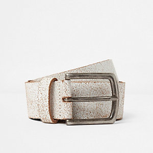 White cracked stud belt