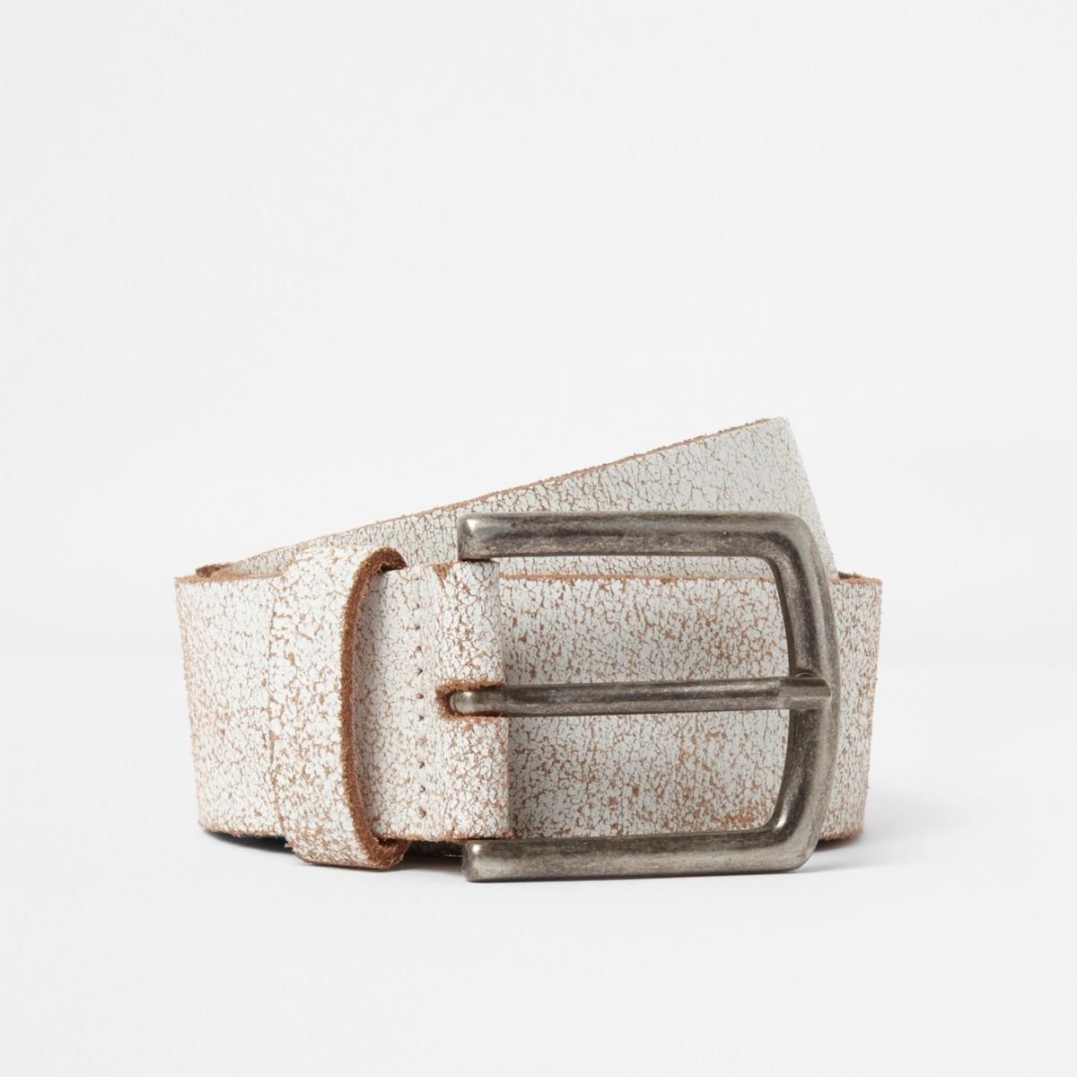 White cracked stud belt