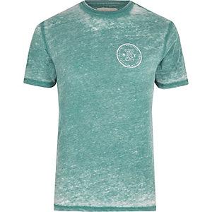 T-shirt slim vert menthe effet usé