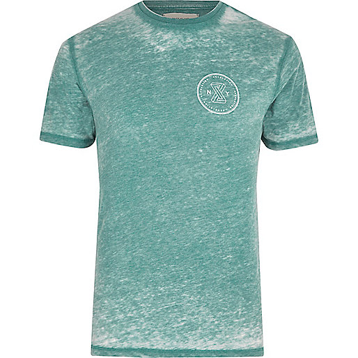 Mint green burnout slim fit T-shirt