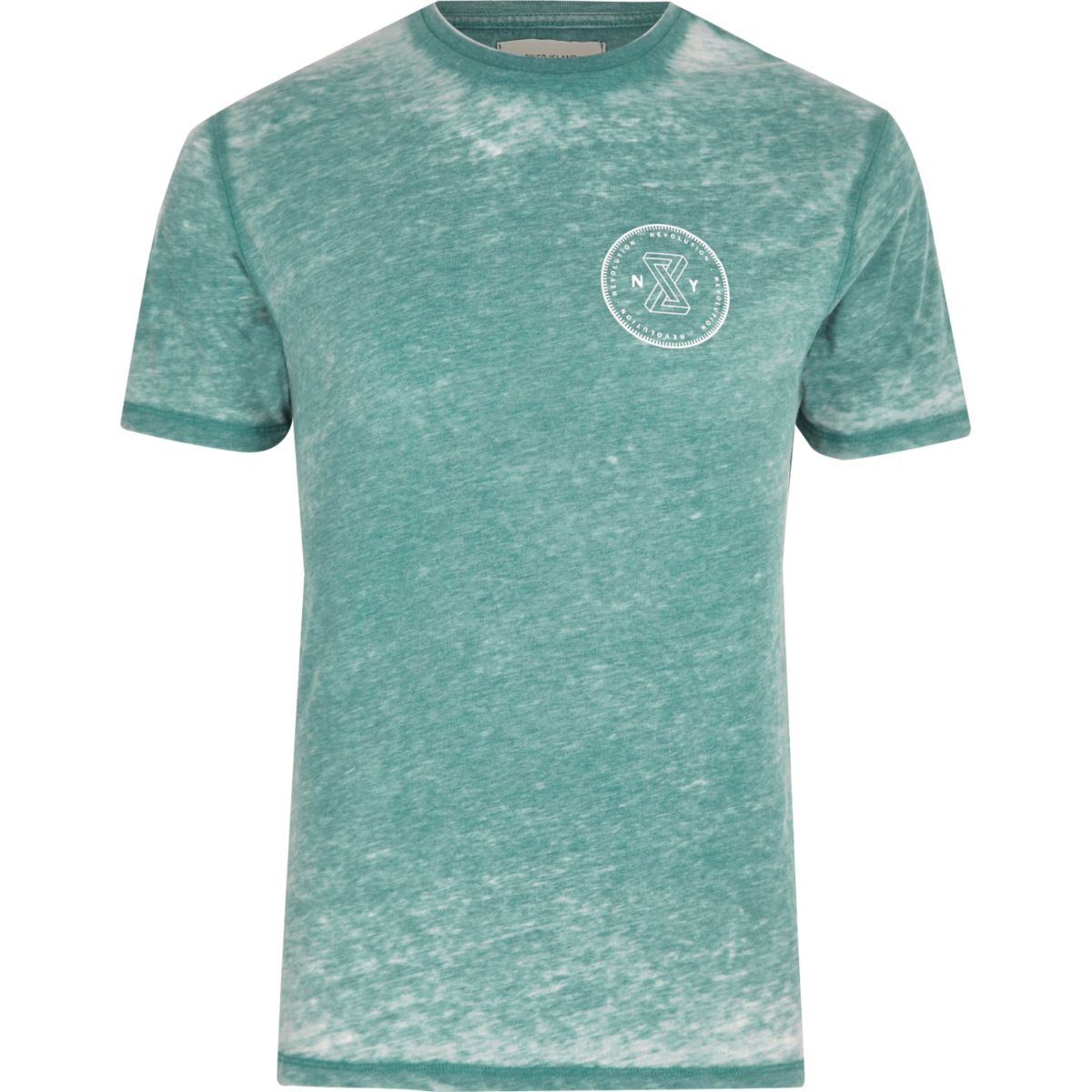 Mint green burnout slim fit T-shirt