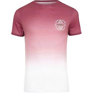 T-shirt imprimé délavé blanc et rose