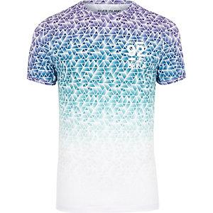 t-shirt ajusté imprimé géométrique blanc et bleu