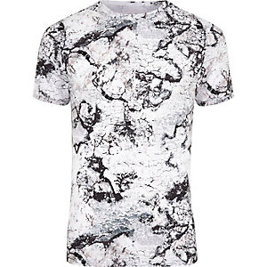 White marble print muscle fit T-shirt
