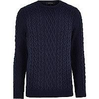 Navy blue cable knit crew neck jumper