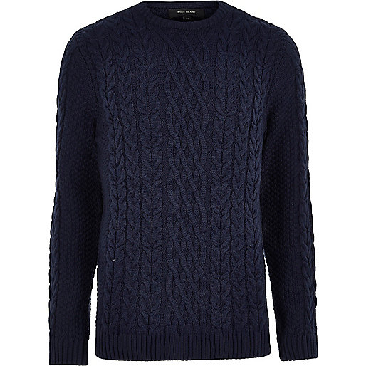 Navy blue cable knit crew neck sweater