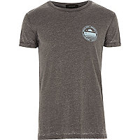 Dark grey burnout print T-shirt